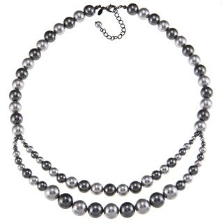Roman Graduated Two tone Grey Faux Pearl Necklace