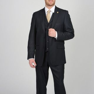 Stacy Adams Mens Navy Two button Vested Suit