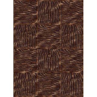 Hand carved Alexa Velvet Zebra Brown Faux Silk Rug (21 x 4