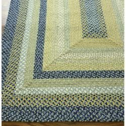 Handmade Alexa Cotton Fabric Braided Blue Cottage Rug (26 x 9