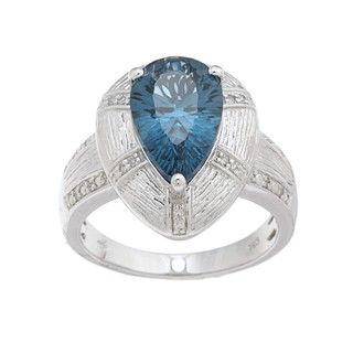 Oro Leoni Sterling Silver Blue Topaz and Diamond Accent Ring (Size 7