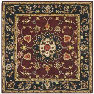 Handmade Classic Kerman Burgundy/ Navy Wool Rug (6 Square