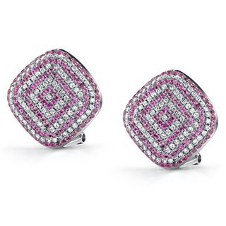 18k Gold 7/8ct TDW Diamond/ Pink Sapphire Earrings (H, SI)