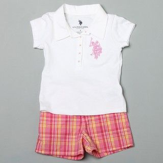 US Polo Girls Polo Shirt and Plaid Shorts