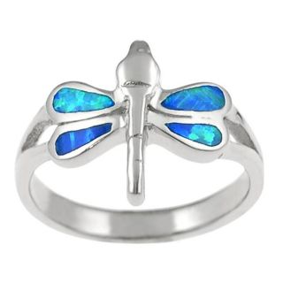Tressa Sterling Silver Blue Opal Dragonfly Ring