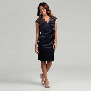 KM Collections Womens Navy Rosette Detail Dress