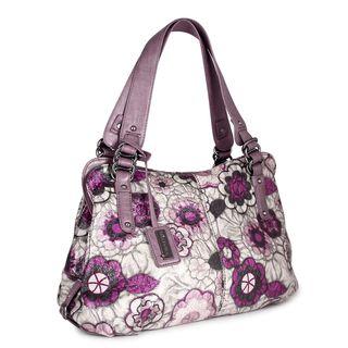 Miadora Alli Beige/ Purple Floral Satchel