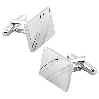 Elegant Silver Rhodium plated PVC Square Diagonal Ribbed Cufflinks