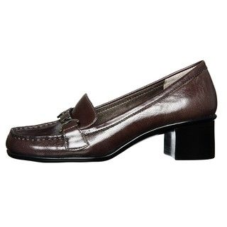 Aerosoles Womens Pepper Mill Dark Grey Leather Heeled Loafers