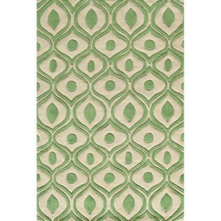 Hand Tufted Modern Waves Green Polyester Rug (50 x 76)