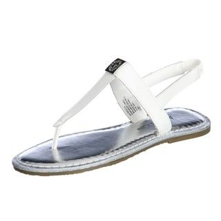 AK Anne Klein Womens Tresca White T strap Sandals