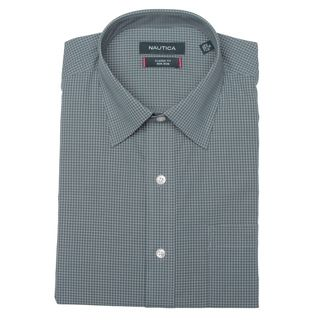 Nautica Mens Dark Slate Mini Check Dress Shirt FINAL SALE