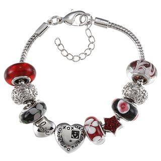 La Preciosa Silvertone Red Glass Bead Heart Charm Bracelet