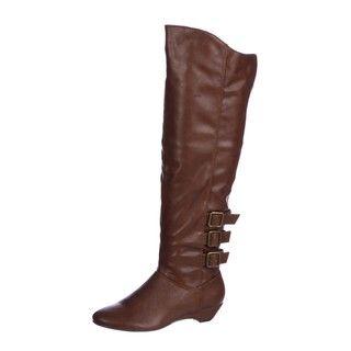 Madden Girl Womens Zexter Buckle Wedge Boots