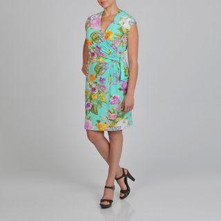 Lennie for Nina Leonard Womens Plus size Floral Faux Wrap Dress