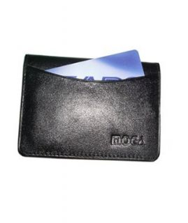 Leather Credit Card Holder ID Window 2.75 x 4 Black Wallet Clothing