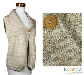 Womens Natural Cotton Cappuccino Vest (Guatemala)