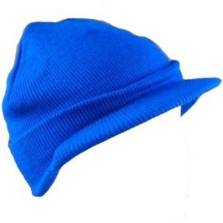 New 2 ply Winter Ski Military Knit Visor Beanie Hat * Blue