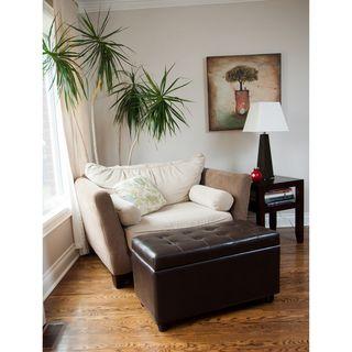 Essex Medium Rectangular Brown Faux Leather Storage Ottoman Bench