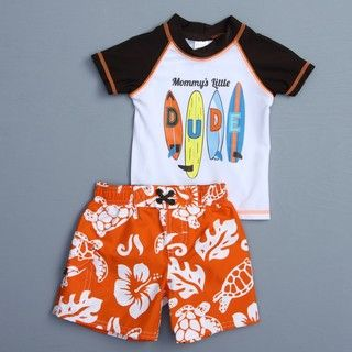 Osh Kosh Infant Boys Surfboard Floral Swimsuit and Rash Guard Set