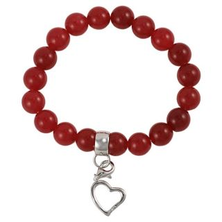 Maddy Emerson Sterling Silver Red Agate Charm Bracelet