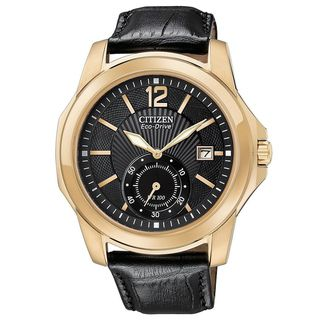 Citizen Mens Eco drive Rose Gold tone Leather Strap Watch