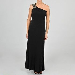 Jackie Jon Womens One Shoulder Embellished Evening Gown