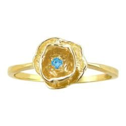 10k Gold December Birthstone Swiss Blue Topaz Flower Ring