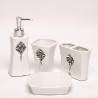 Jewel White Boutique Four piece Faux jewel Ceramic Bath Accessory Set
