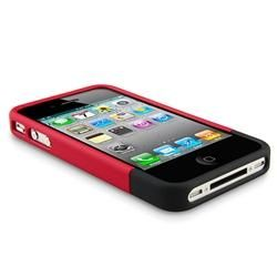 Red and Black Snap on Rubber Case for Apple iPhone 4