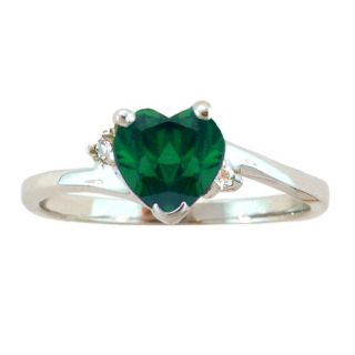 10k Gold May Birthstone Created Emerald/ Diamond Heart Ring