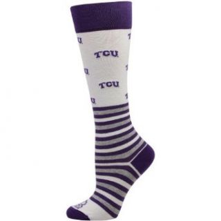 NCAA TCU Horned Frogs Womens Striped Logo Knee Socks