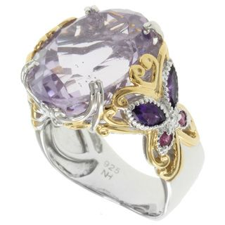 Michael Valitutti Two tone Amethyst and Pink Sapphire Ring