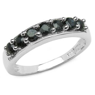 Malaika Sterling Silver Round cut Black Sapphire Ring