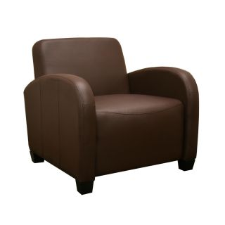 Acacia Dark Brown Faux Leather Modern Club Chair