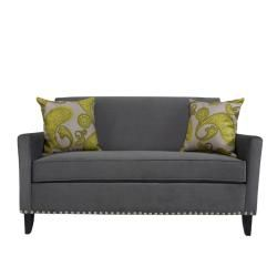 angeloHOME Sutton Antique Silver Gray Sofa with Paisley Pillow