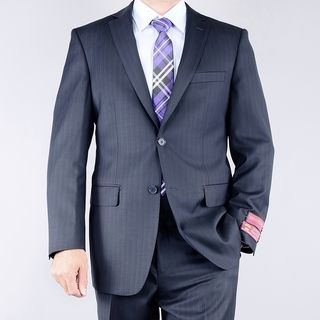 Mantoni Mens Navy Pinstriped 2 button Wool Suit