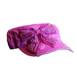 Olive Juice Womens Pink Rhinestone Bow Hat