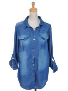 Anna Kaci Free Size Dark Faded Denim Blue Country Style