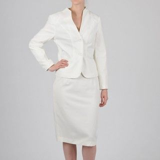 Signature by Larry Levine Womens Cream Skirt Suit