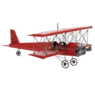 Red 31 inch Metal Bi Plane Model Toy Replica