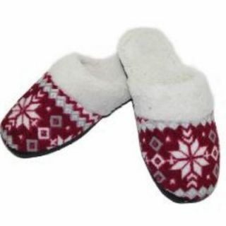 Isotoner Womens Cranberry Snowflake Clog Slippers: Shoes