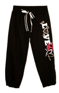 Active Basic Peace Love Capri Sweatpants (Large, Black