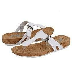 AK Anne Klein Fabio White Patent/Cork Sandals