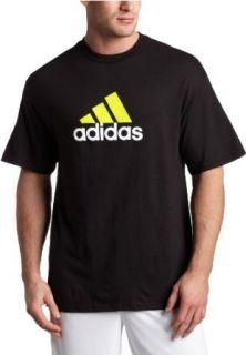 adidas Mens Short Sleeve Logo Tee,Black/Neon Yellow S09