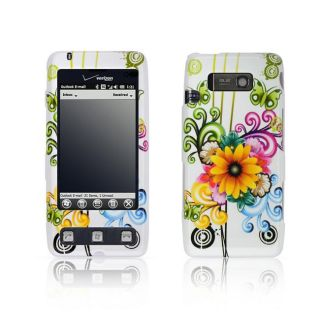 LG Fathom VS750 White Floral Butterfly Design Crystal Case
