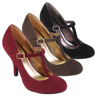 Journee Collection Womens Lisa Sueded T strap Round Toe Pumps