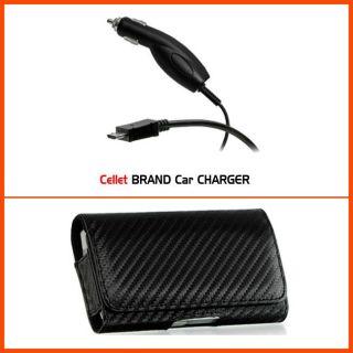 LG Quantum C900 Carbon Fiber Style Horizontal Belt Clip Case with Car