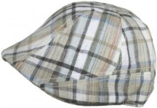 Scala Plaid Ivy Linen Cotton Blend Scally Cap Duckbill