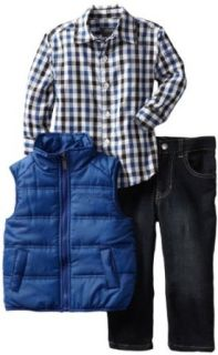 Kenneth Cole Boys 2 7 Toddler Puffy Vest with Plaid Shirt
